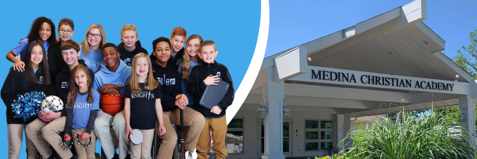 Medina Christian Academy students and the exterior of school